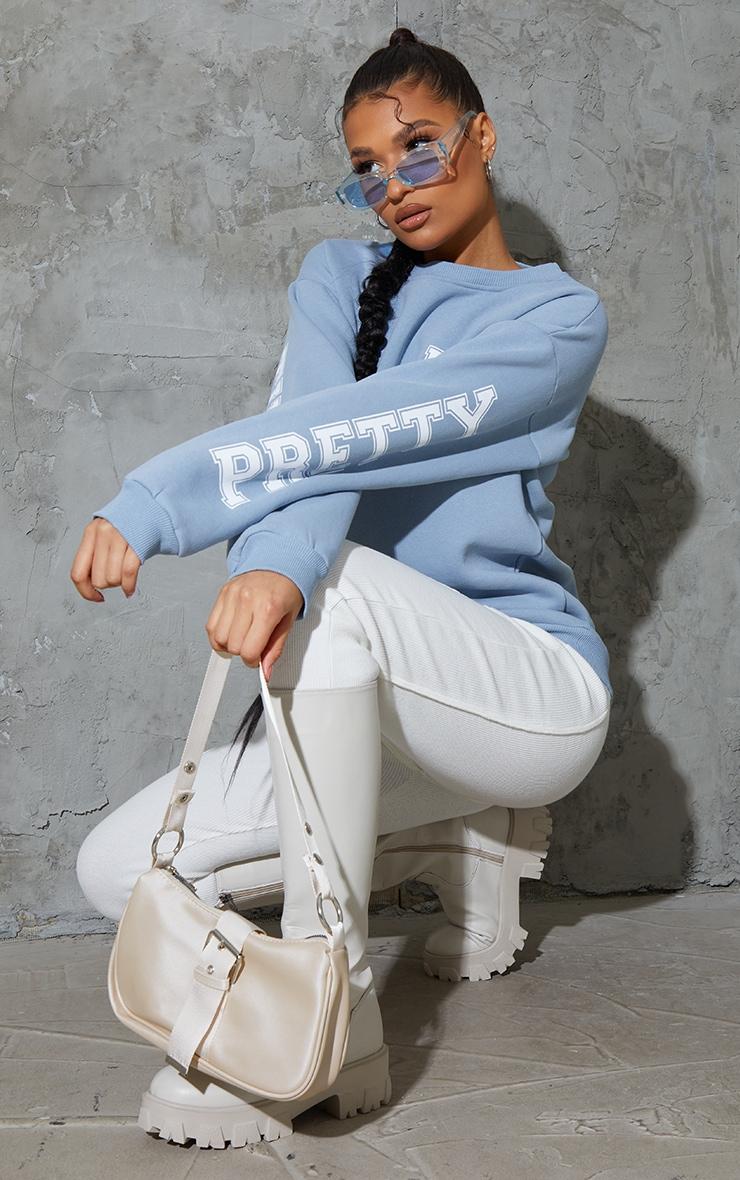 PRETTYLITTLETHING Dusty Blue Back Arm Print Slogan Sweatshirt 3