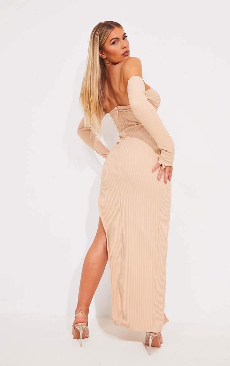 Nude Bandage Ribbed Bardot Plunge Midaxi Dress 2