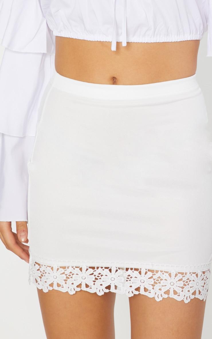 White Crochet Trim Detail Mini Skirt 6