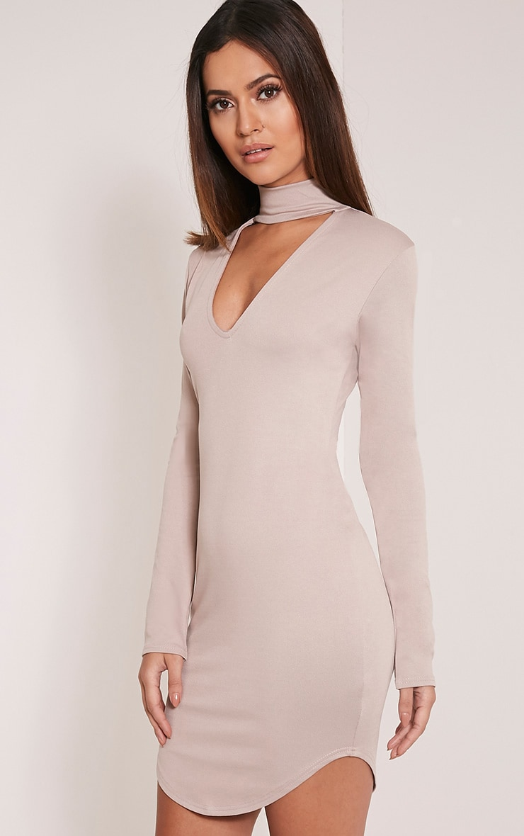 Arianna Taupe Crepe Choker Detail Bodycon Dress 4