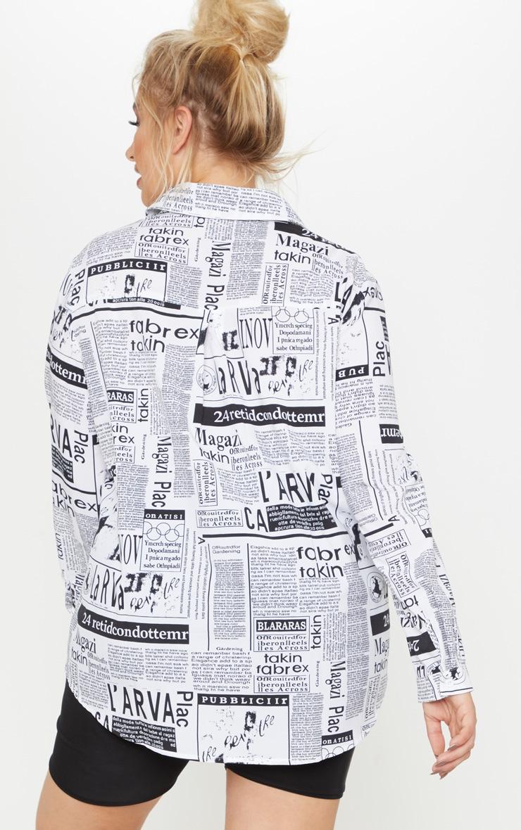 Plus Monochrome Newspaper Print Oversized Shirt 2