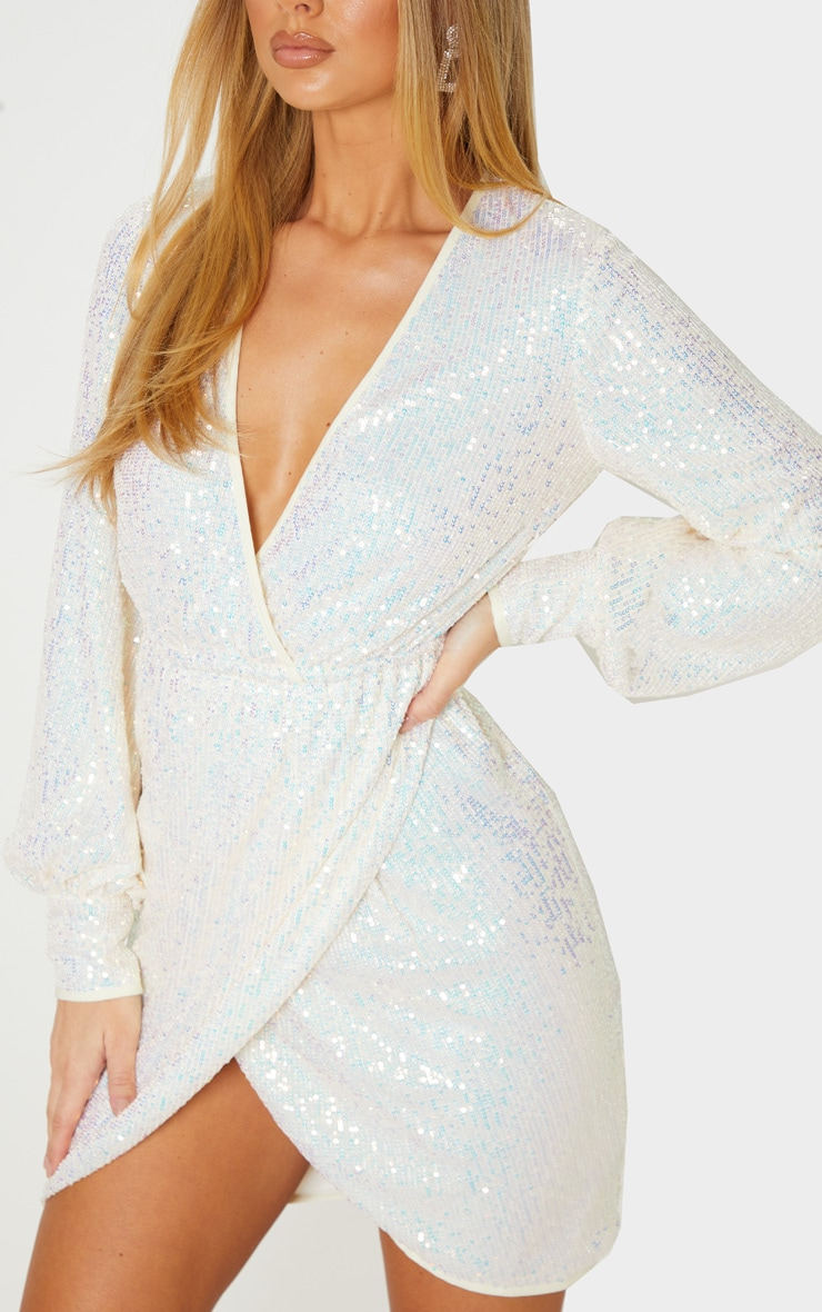 Silver Sequin Long Sleeve Plunge Wrap Detail Bodycon Dress 5