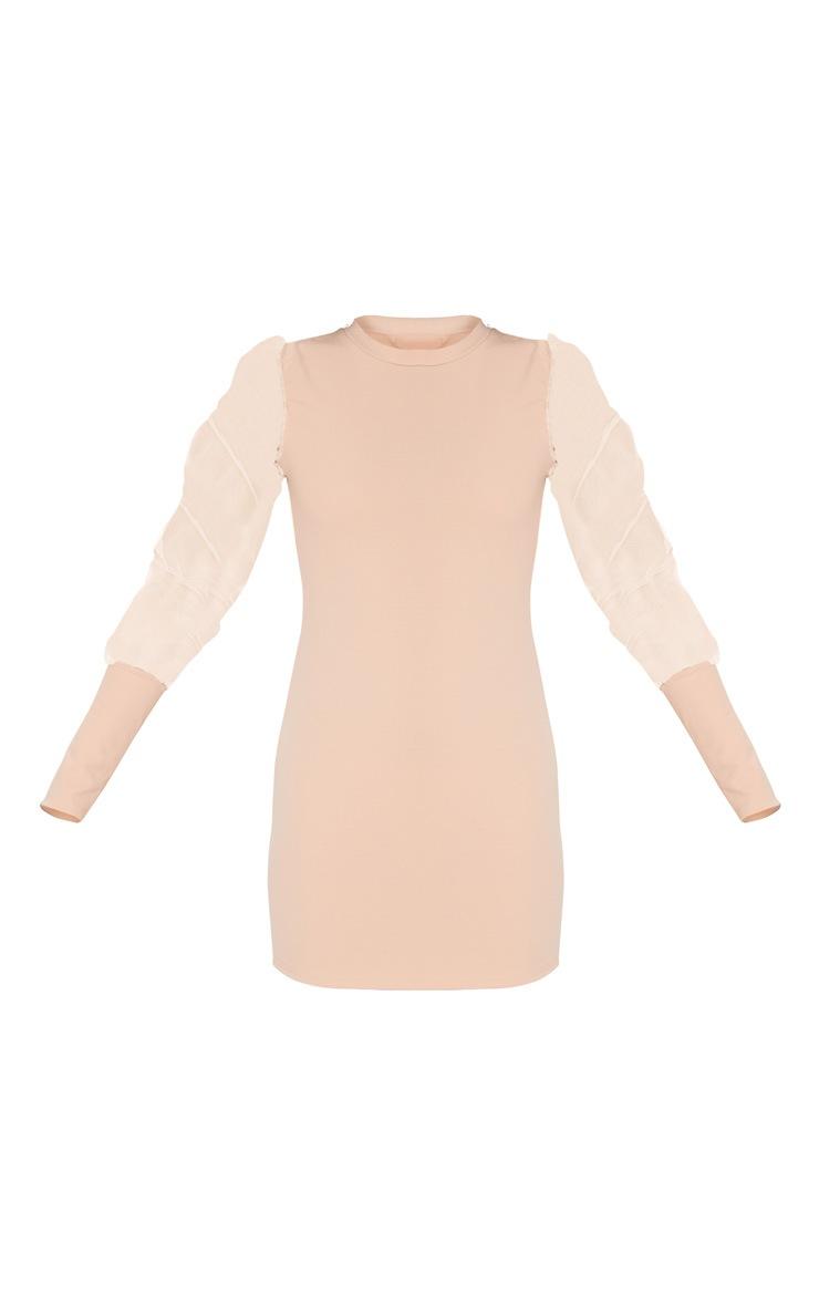 Nude Organza Puff Sleeve High Neck Bodycon Dress 3