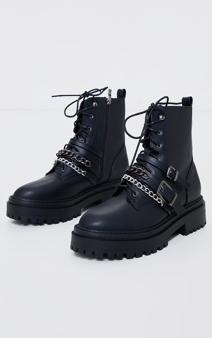 Black PU Chain And Buckle Detail Chunky Boots 3