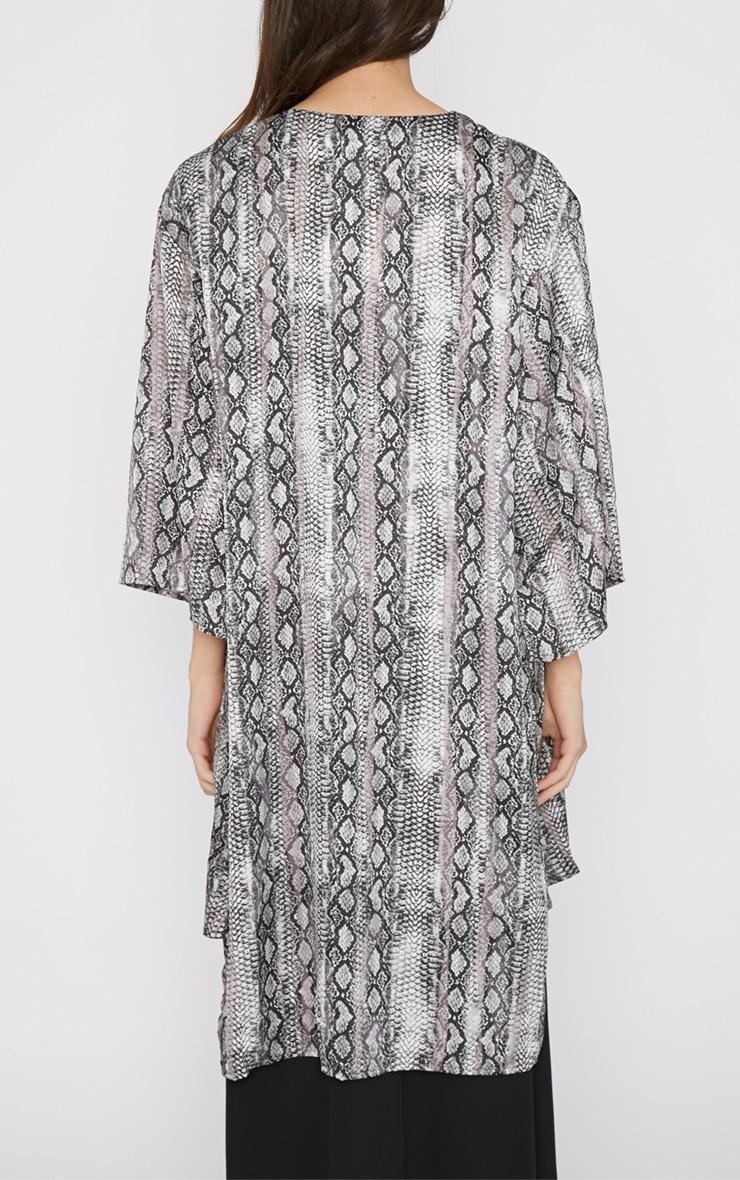 Sofia Grey Snake Print Silk Kimono  2