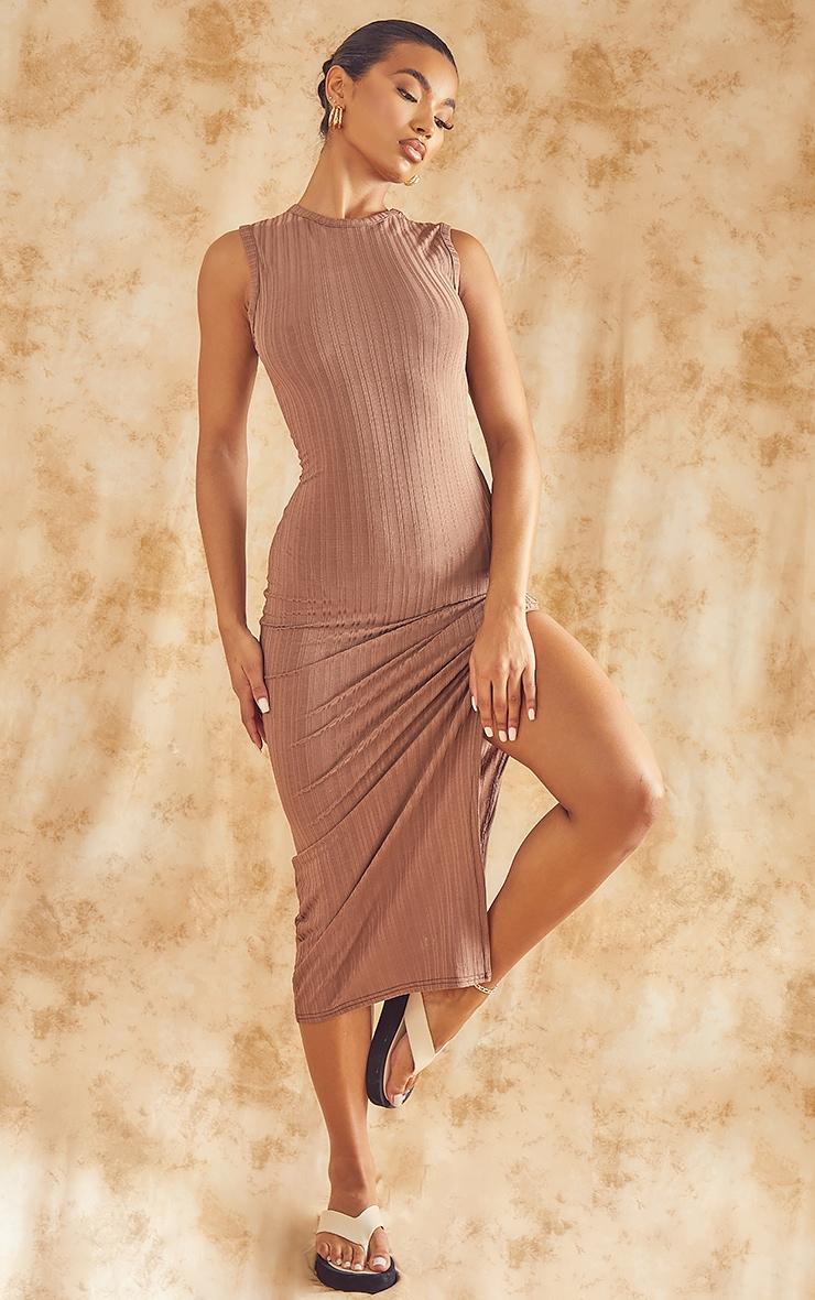 Recycled Mocha Rib Split High Neck Midi Dress 4