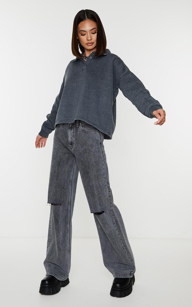 Grey Washed Oversized Sweat Polo Shirt 3