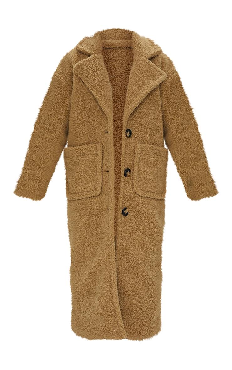 Petite Camel Maxi Borg Coat 5