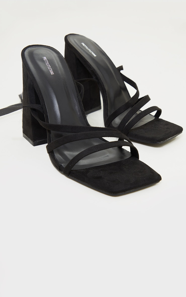Black Suede Square Toe Strappy High Block Heeled Sandals 3