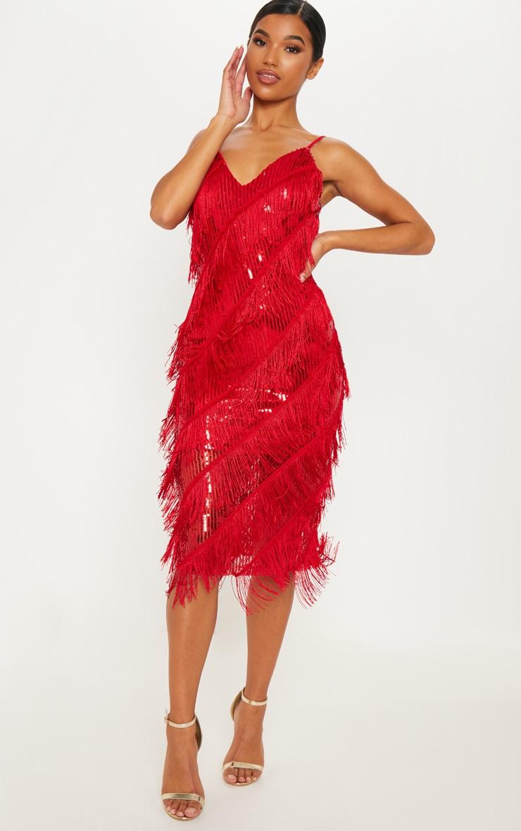 00601c0edcf Red Sequin Tassel Strappy Midi Dress image 1