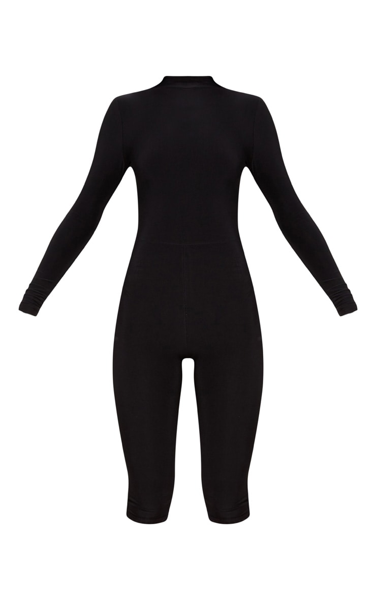 Black Second Skin Slinky High Neck Unitard 4