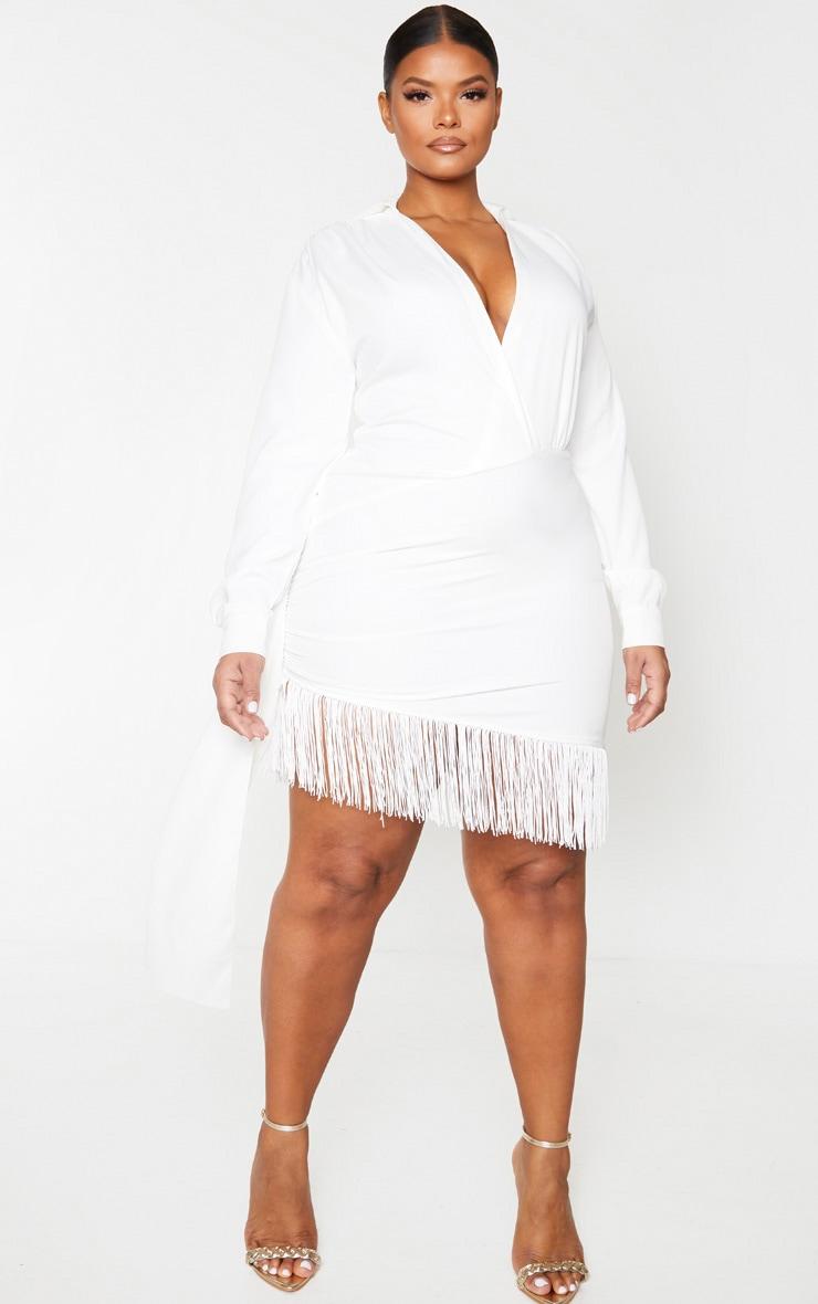 Plus White Long Sleeve Tassel Hem Drape Detail Bodycon Dress 1