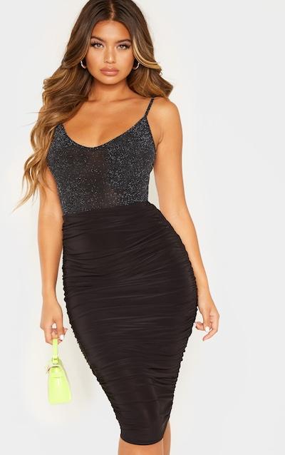 Black Textured Glitter Strappy Bodysuit