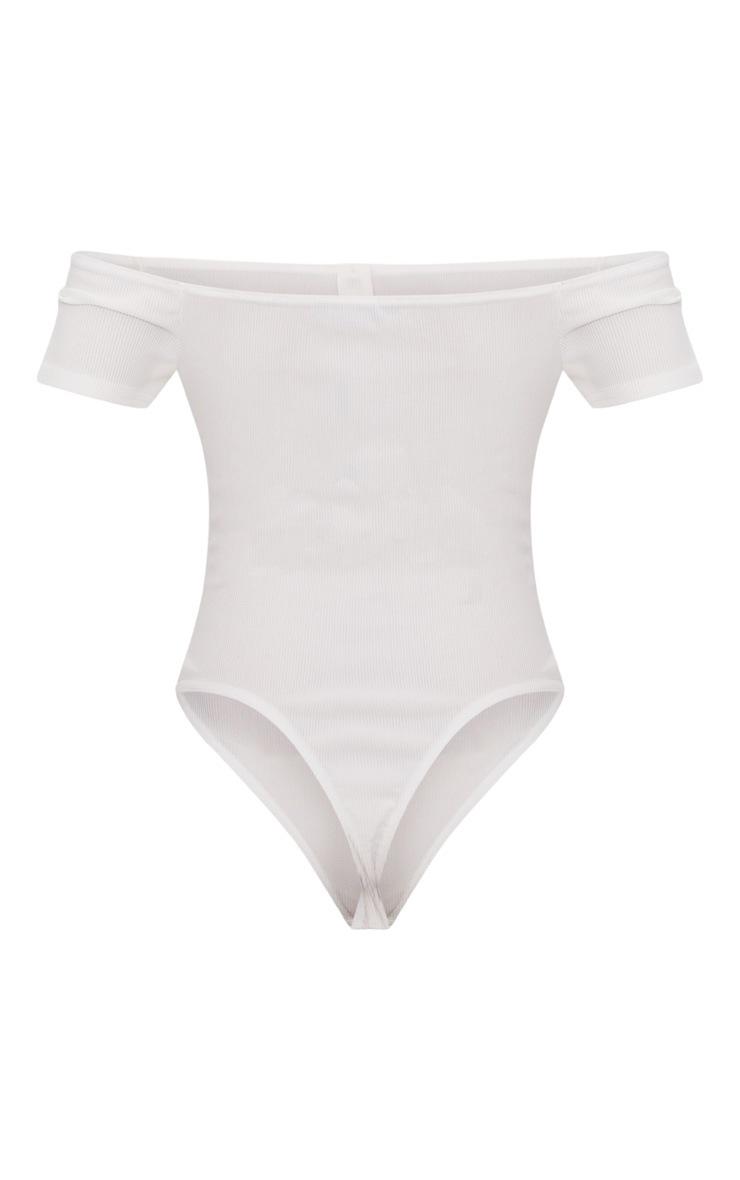 White Rib Button Bardot Thong Bodysuit  3
