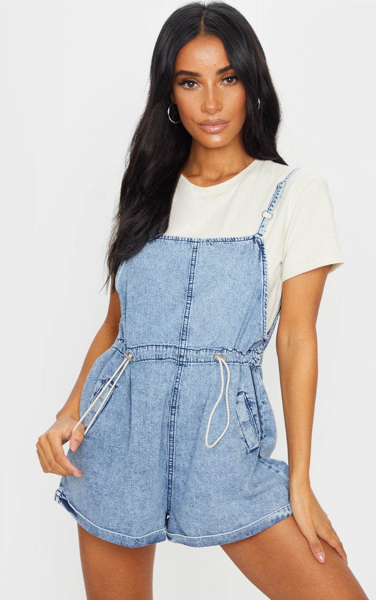 Acid Blue Wash Toggle Waist Square Neck Romper 1