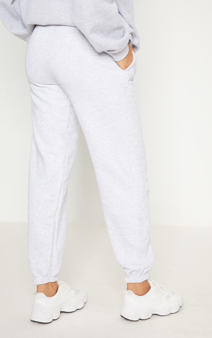 PRETTYLITTLETHING Grey Embroidered Jogger 4