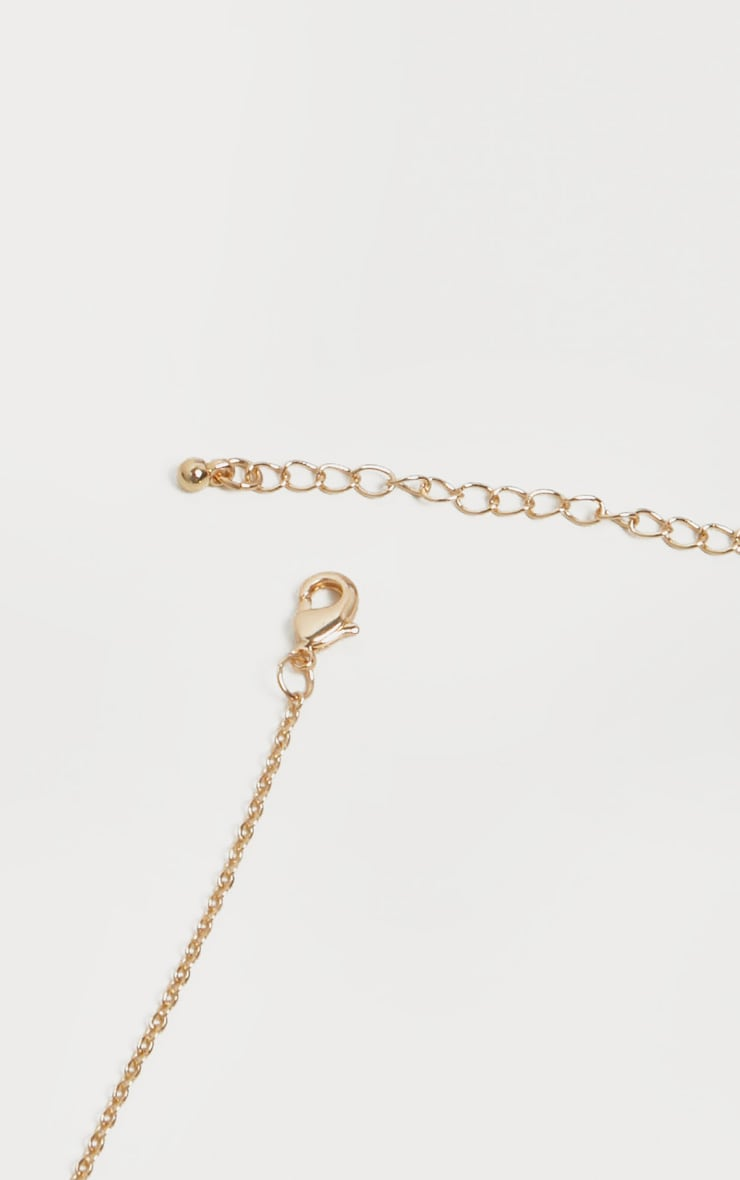 Gold Diamante  Libra Star Sign Necklace 4