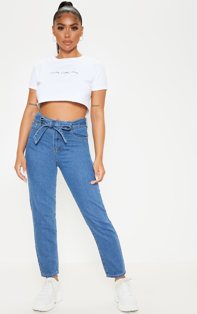 93ca0e3f20da9a Petite Mid Wash Straight Leg Tie Belted Jeans PrettyLittleThing Sticker