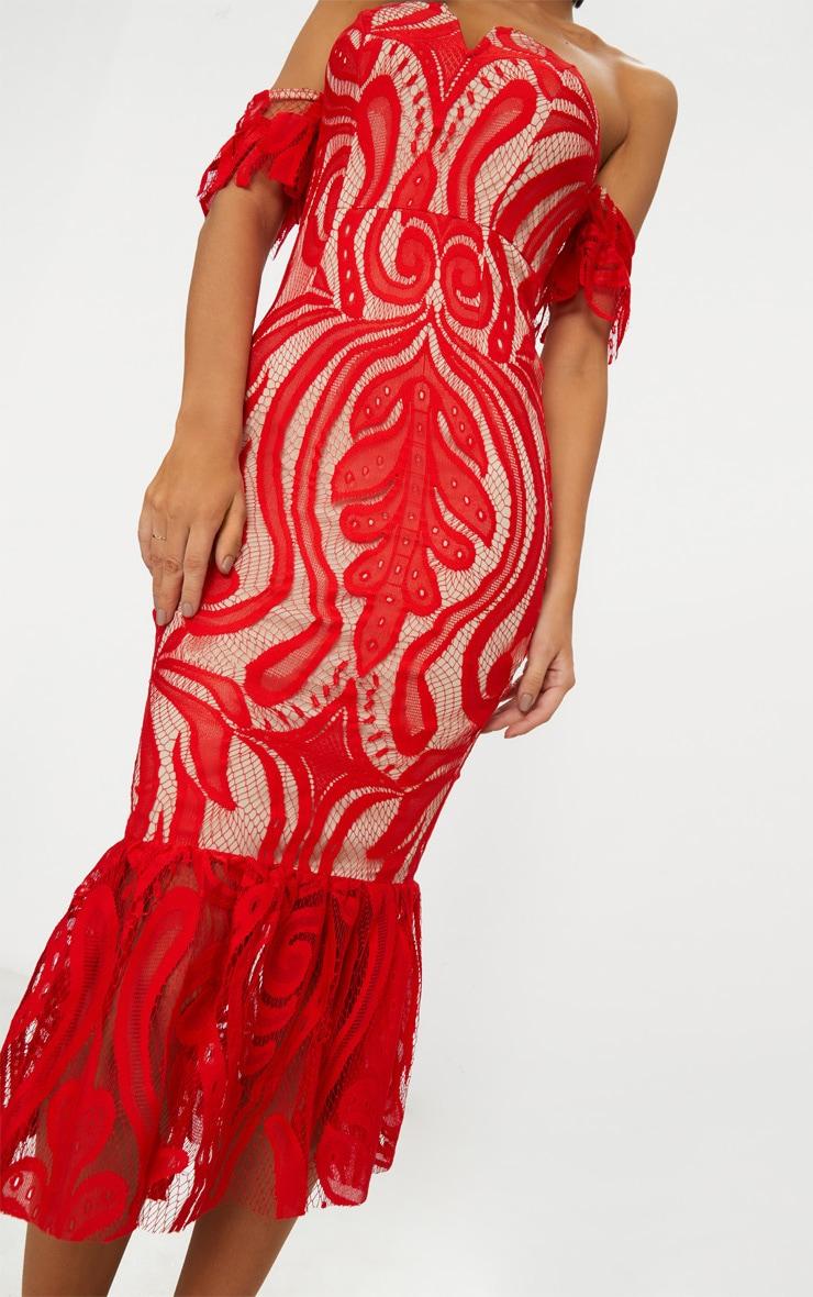Red Bardot Lace Frill Hem Midi Dress 5