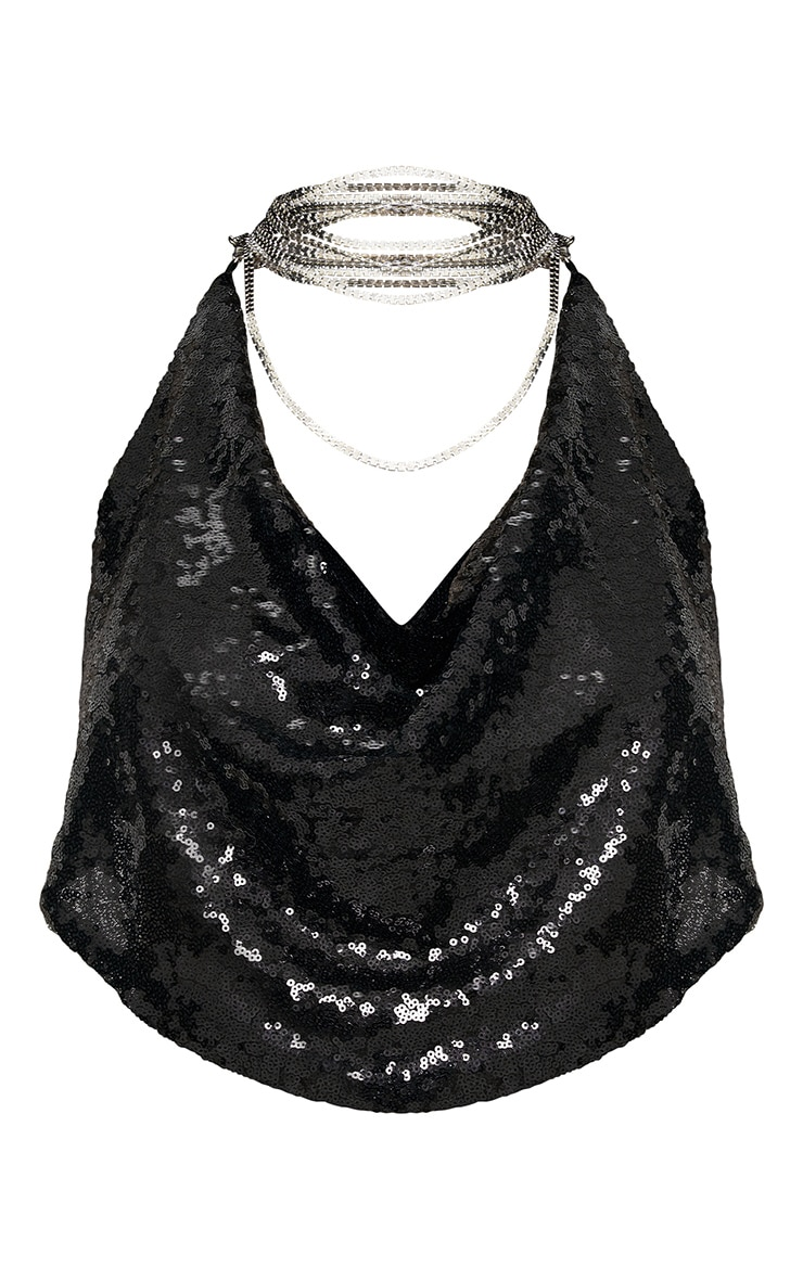 Black Cowl Neck Sequin Chain Crop Top 3