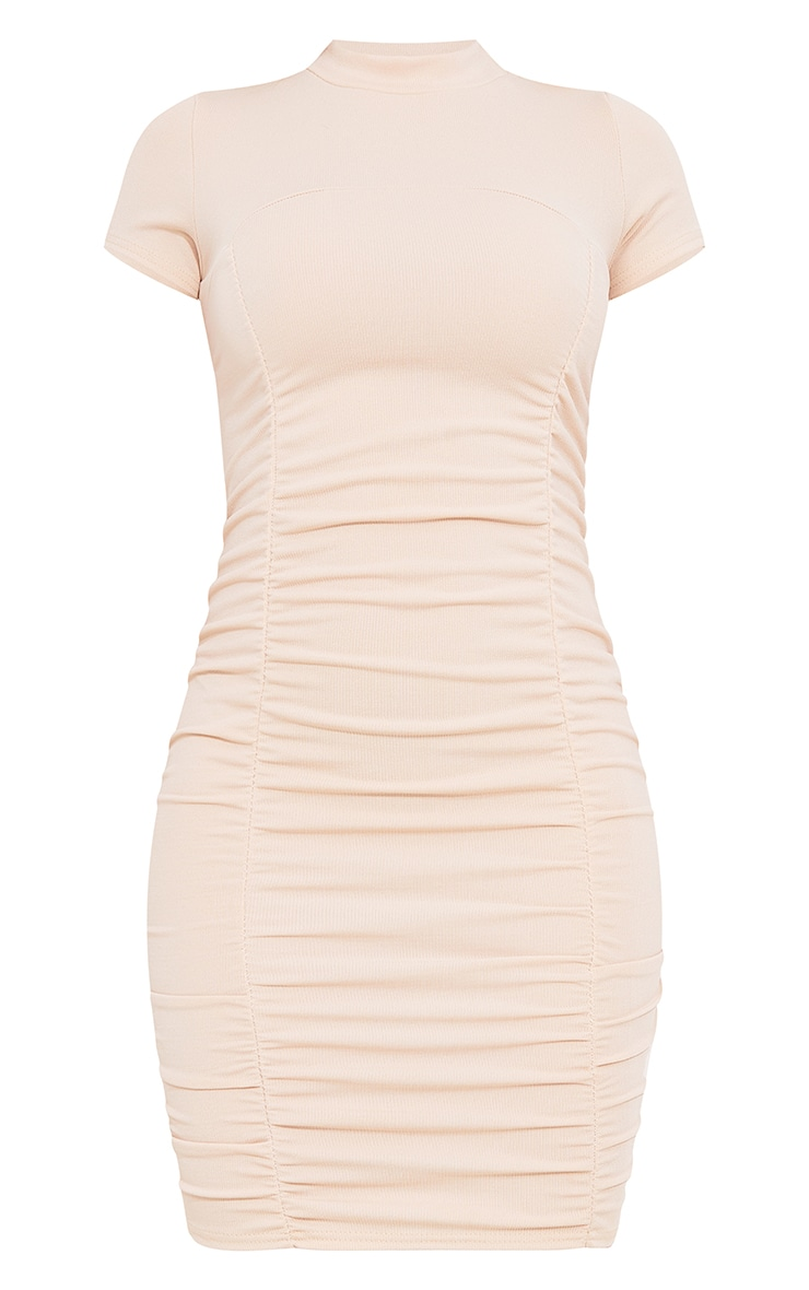 Stone Rib Double Ruched Detail Short Sleeve Bodycon Dress 5