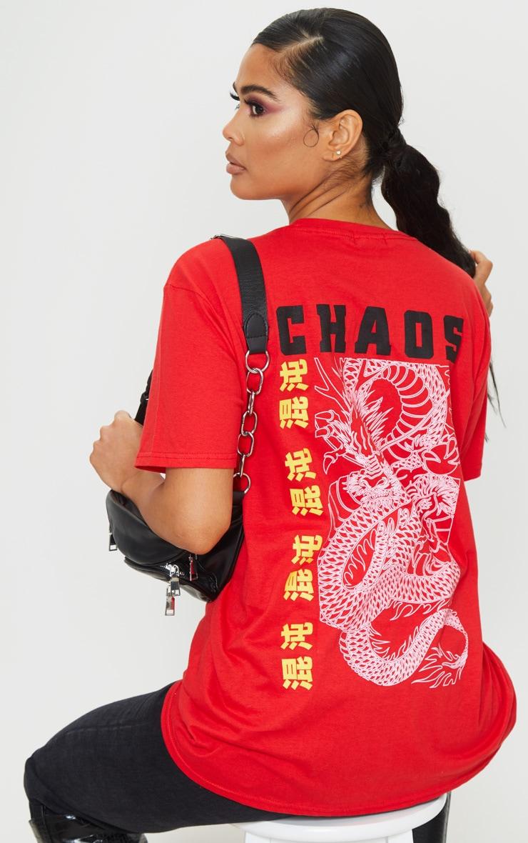 Red Chaos Dragon T Shirt 1