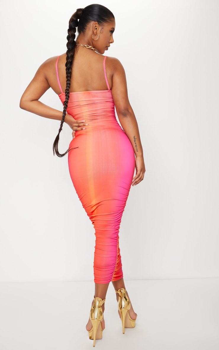 Orange Ombre Tie Dye Print Slinky Strappy Ruched Midaxi Dress 2
