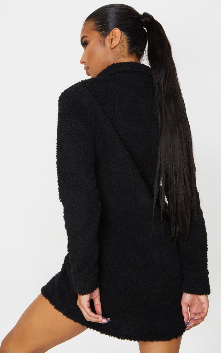 PRETTYLITTLETHING Black Embroidered Borg Shirt Dress 2