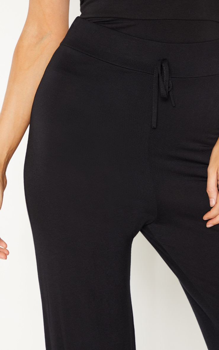 Tall Black Drawstring Jersey Wide Leg Jogger 5