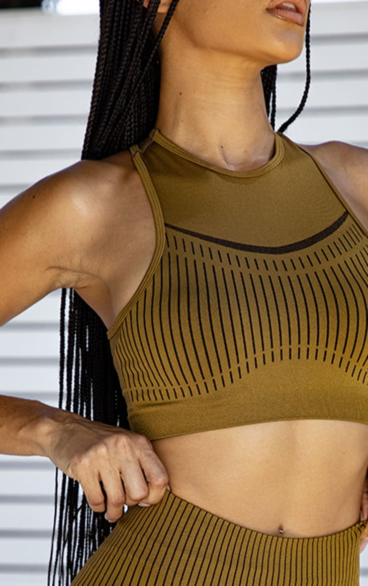 PRETTYLITTLETHING Light Brown Sport Contrast Stripe Seamless Crop Top 4