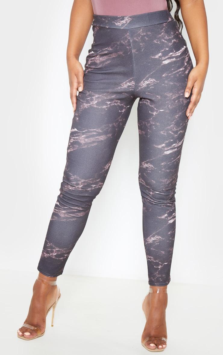 Black Marble Print Skinny Pants 2