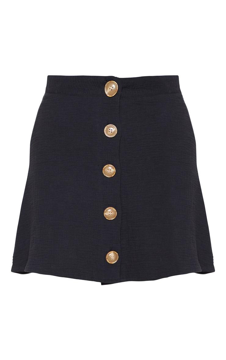 Black Button Front Linen Feel Mini Skirt 3