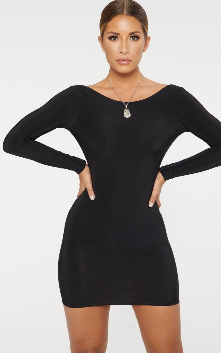 Black Second Skin Slinky Scoop Back Bodycon Dress 1