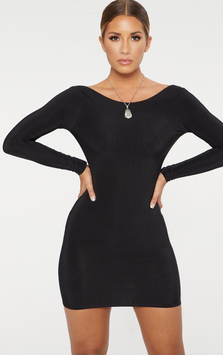Black Second Skin Slinky Scoop Back Bodycon Dress 1