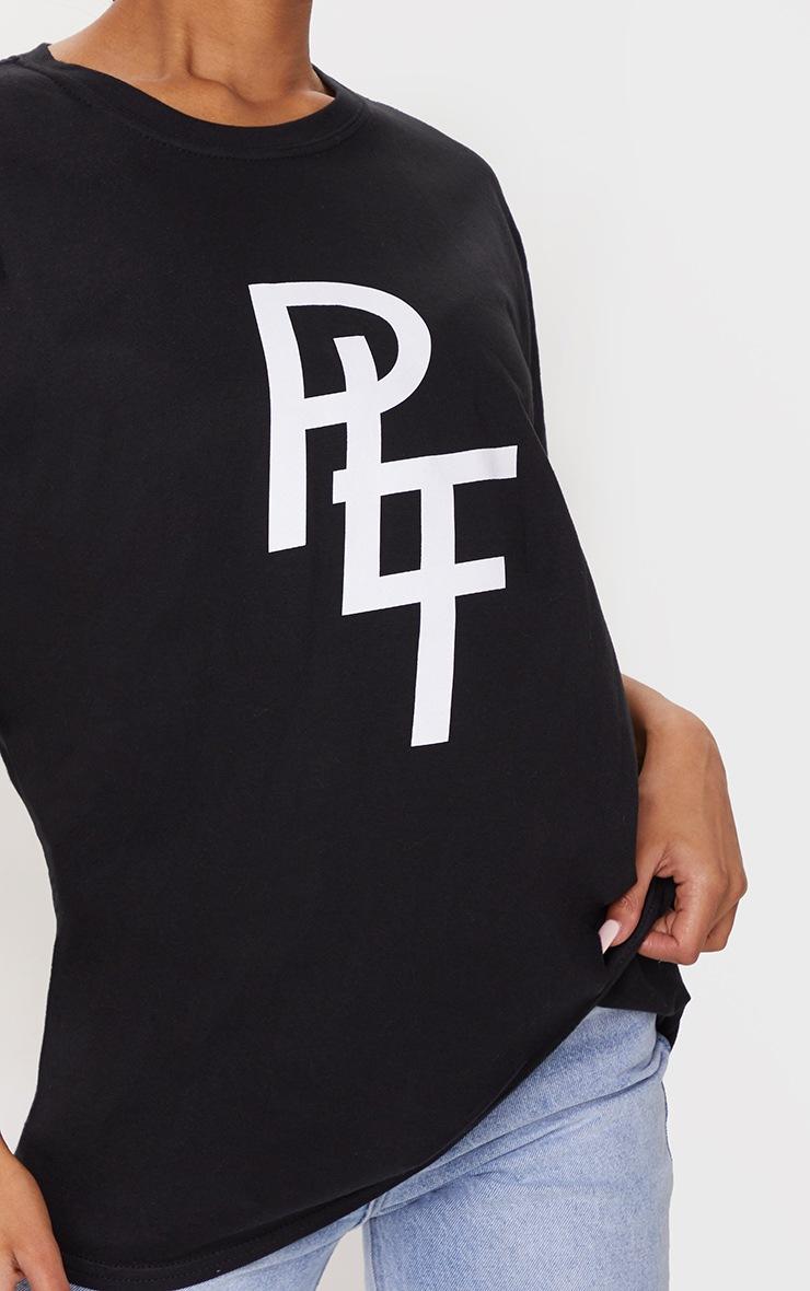 PRETTYLITTLETHING Black Overlay Printed T Shirt 4