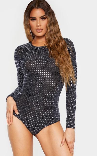 Tall Black Sequin Long Sleeve Scoop Neck Bodysuit