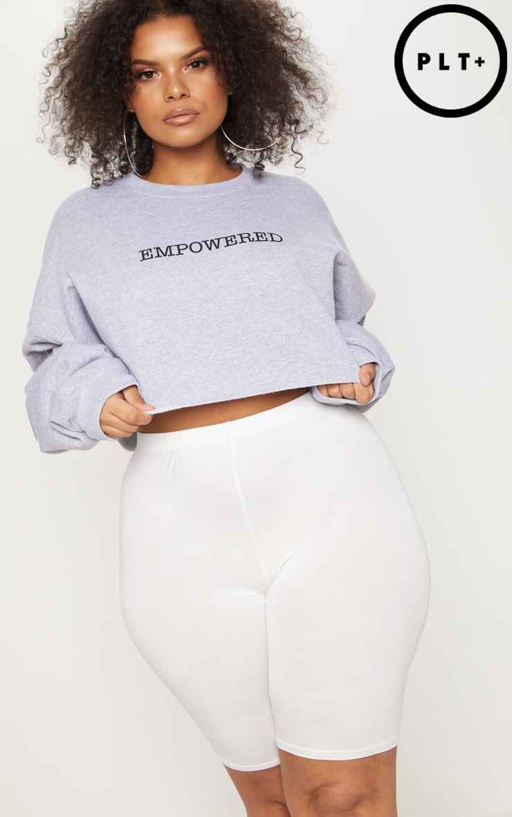 Plus Grey EMPOWERED Cropped Slogan Sweater 1