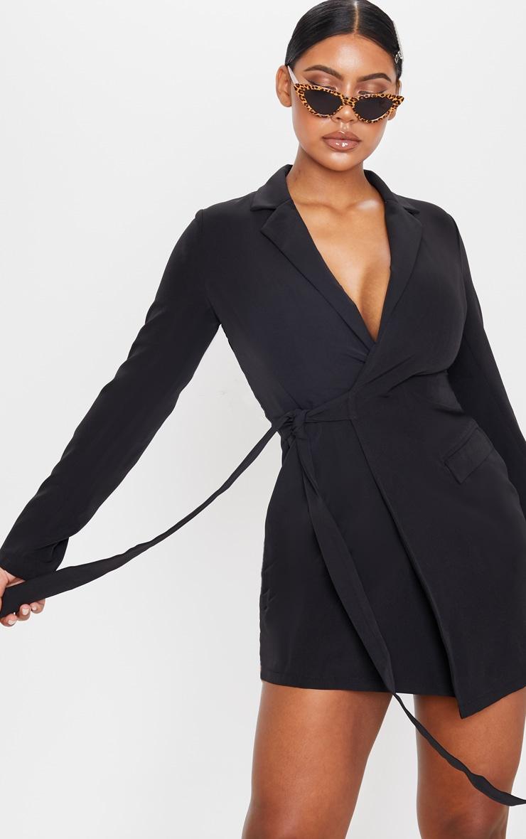 Black Tie Detail Blazer Dress 4