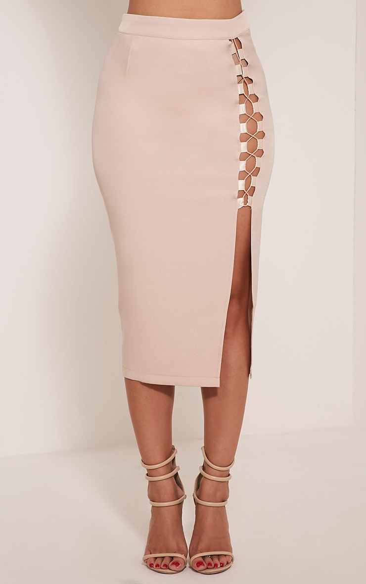 Janelle Nude Lace Up Midi Skirt 3