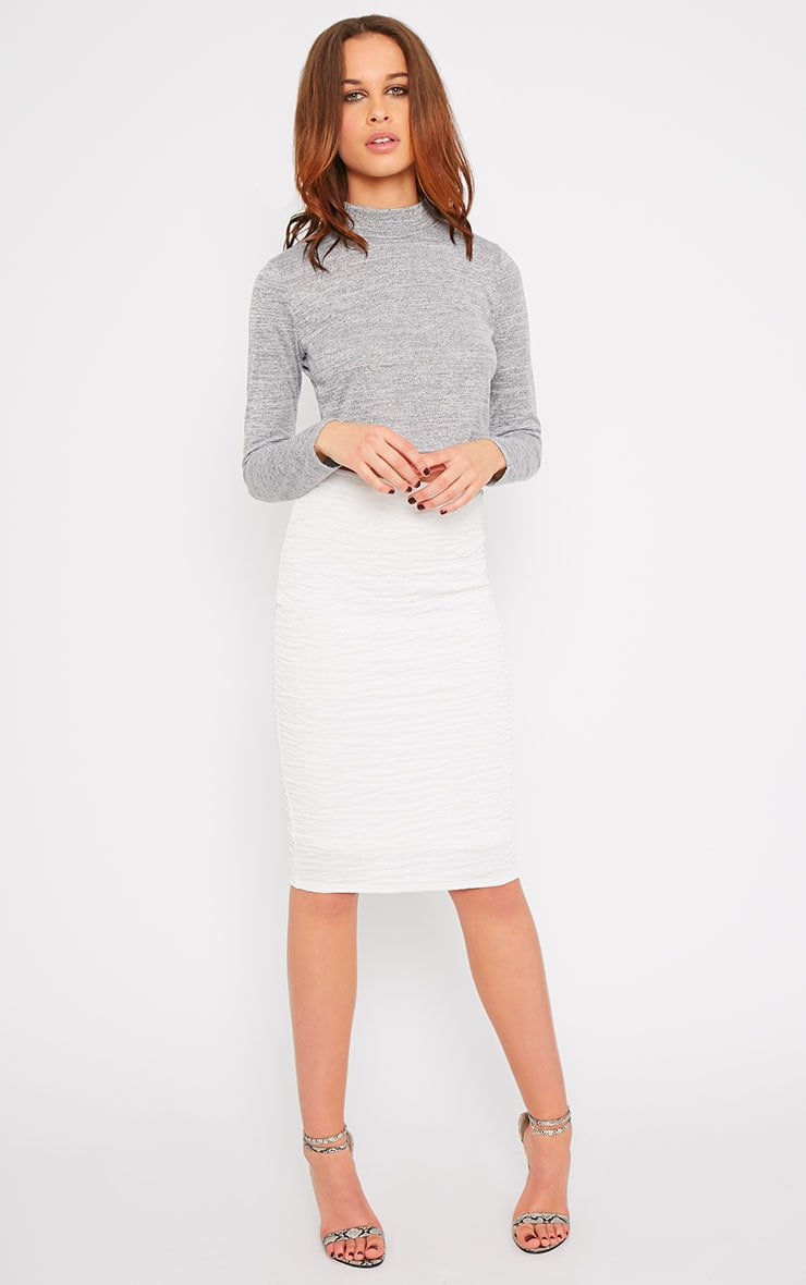 May Grey Marl Knitted Turtle Neck Crop Top  5