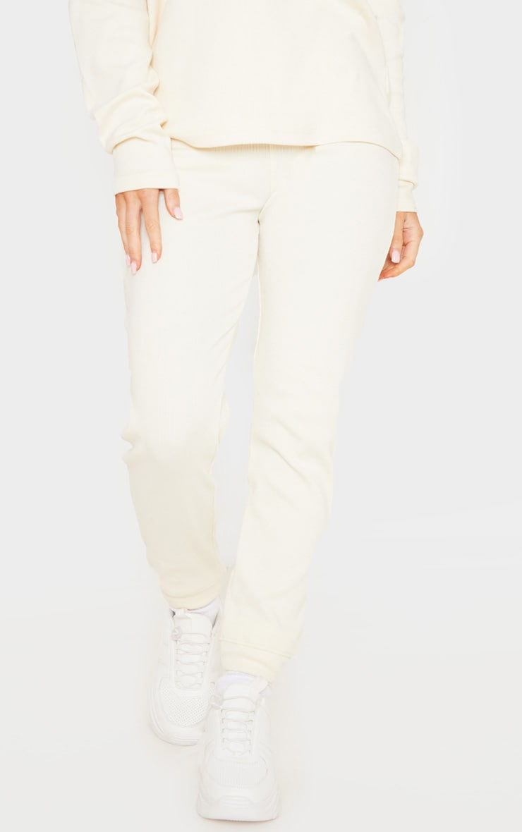 Cream Thick Rib High Waisted Jogger 2