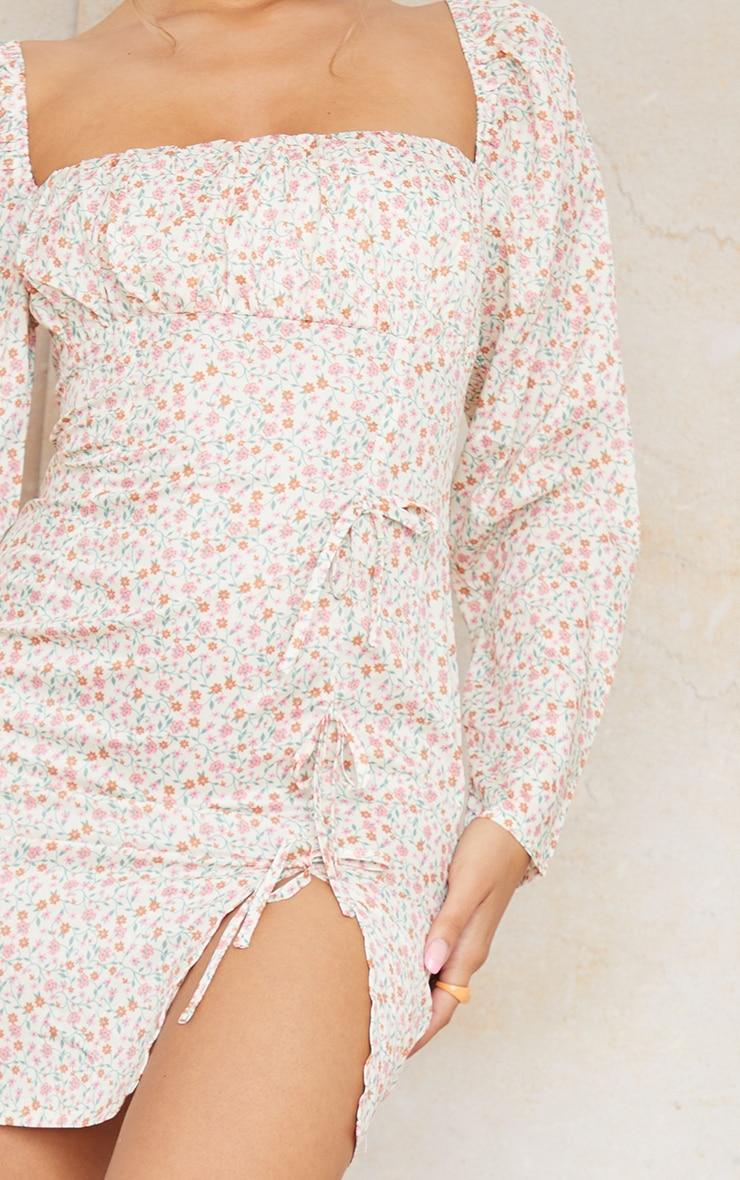 Cream Ditsy Print Bow Detail Side Split Bodycon Dress 4