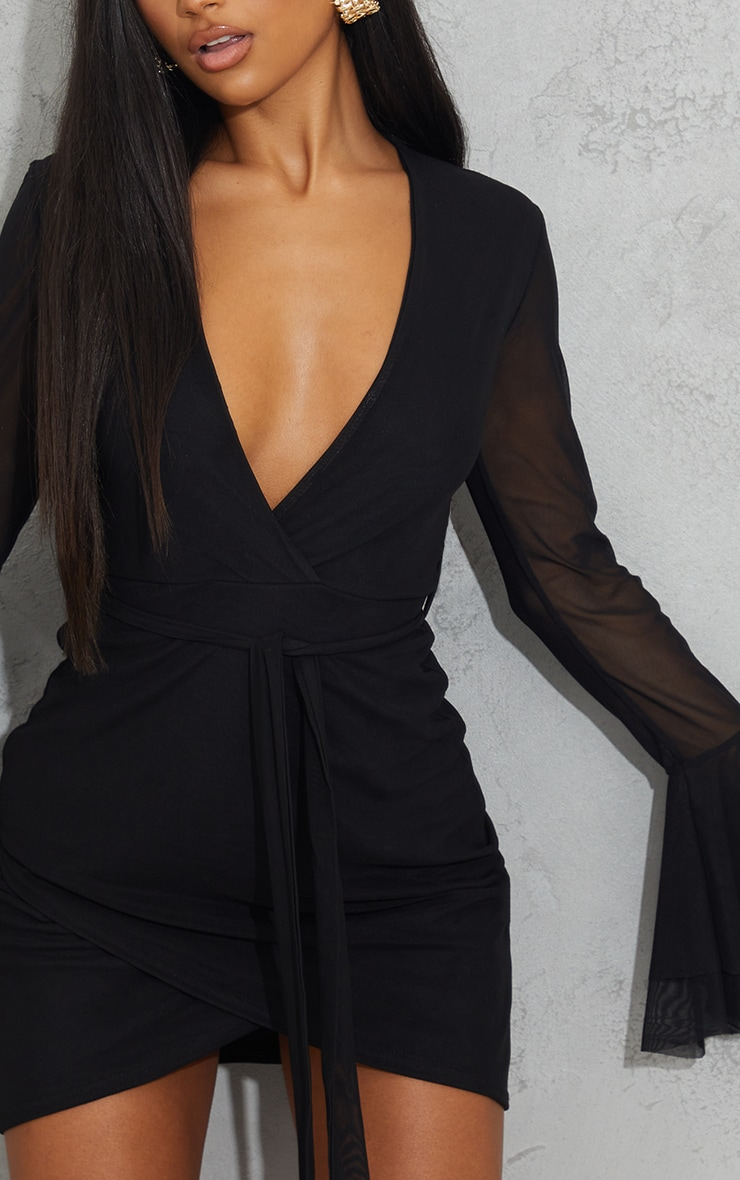 Black Mesh Flared Sleeve Tie Waist Bodycon Dress 4