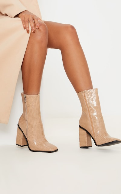 Nude Square Toe Chunky Block Heel Ankle Boot