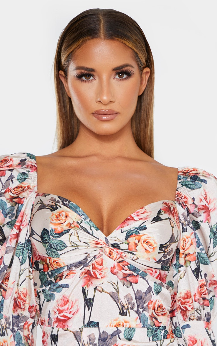 Nude Rose Print Puff Sleeve Twist Detail Bodycon Dress 5