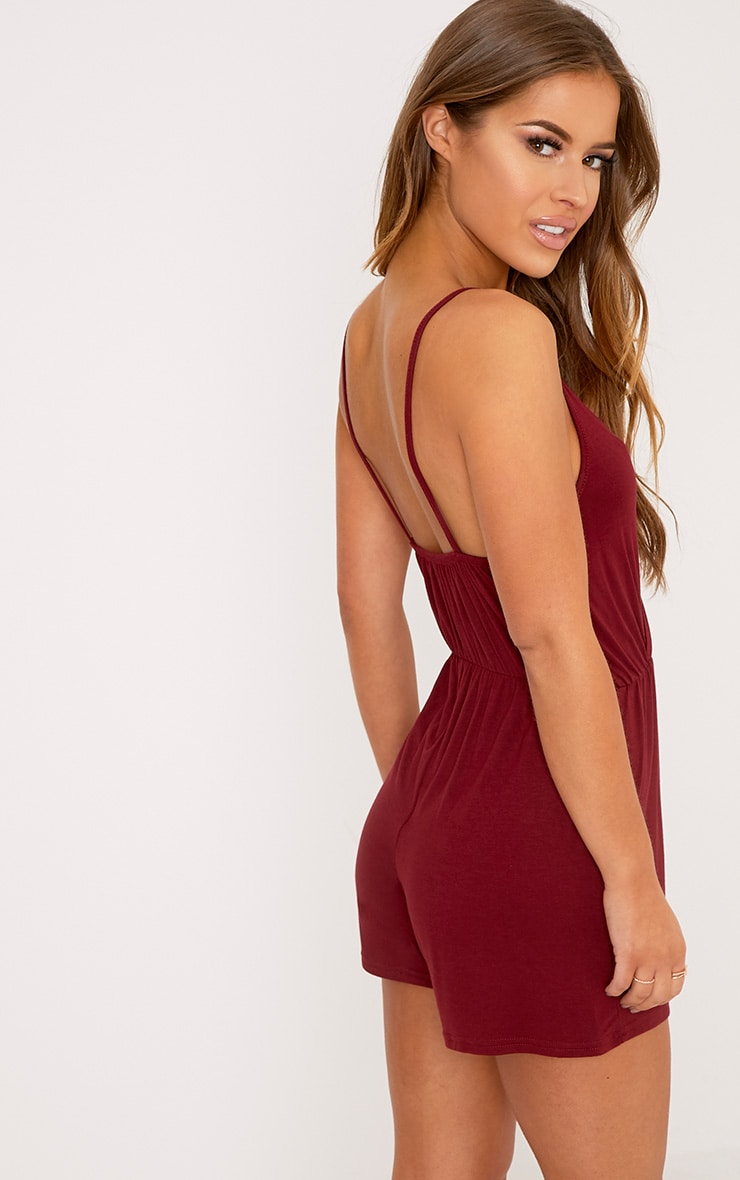 Petite Amelia Burgundy Basic Playsuit 2