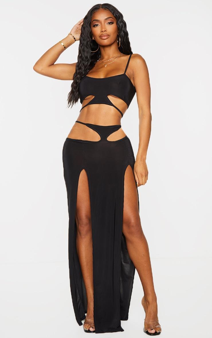 Shape Black Slinky Cut Out Side Split Maxi Skirt