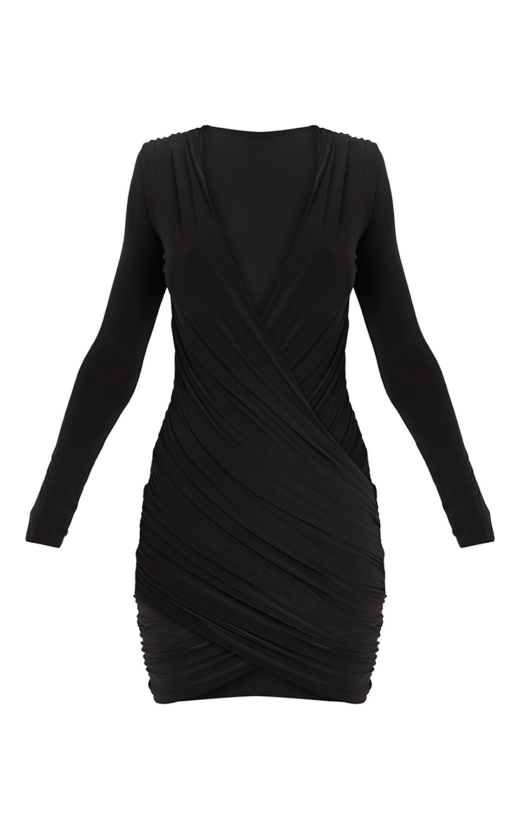 Meeah Black Ruched Plunge Wrap Over Bodycon Dress 3