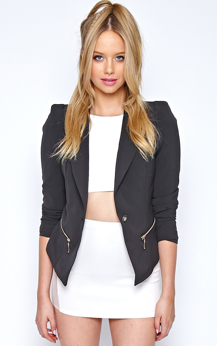 Calista Black Zip Detail Blazer 4
