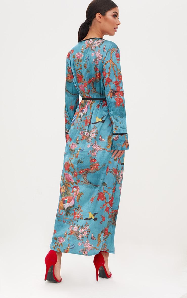 Teal Floral Satin Kimono Maxi Dress 2